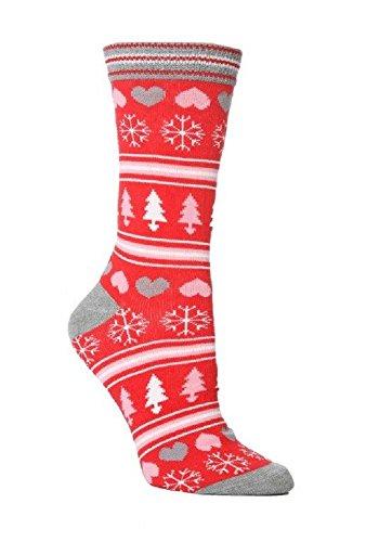 Festive Feet 1 Paar Damen Neuheit Weihnachtsschneeflocke -Herzen Socken UK 4-8 Lila/rosa