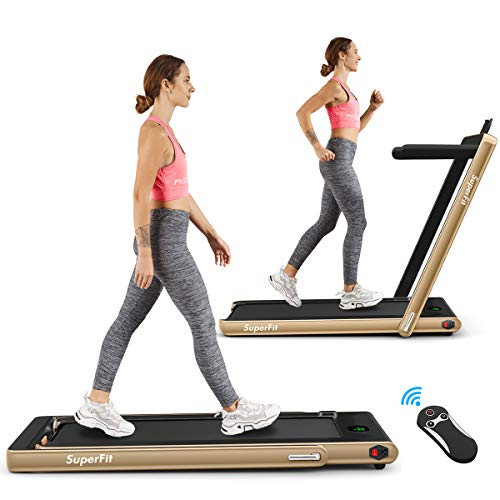 Goplus 2 in 1 Folding Treadmill, 2.25HP Under Desk Electric Treadmill, Installation-Free with Bluetooth Speaker, Remote Control and LED Display, Walking Jogging for Home Office Use (Champagne)