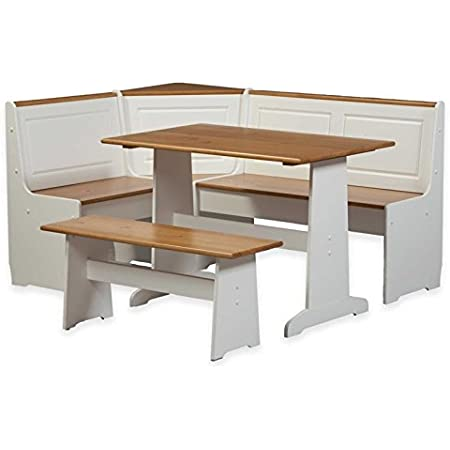 Amazon Com Riverbay Furniture Patio Conversation Kitchen Breakfast Corner Nook Table Booth Bench Dining Set In White Table Chair Sets