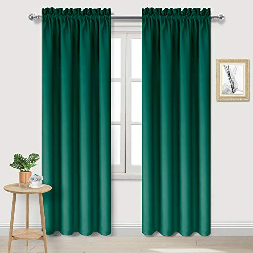 DWCN Blackout Curtains Room Darkening Thermal Insulated Bedroom Curtains Window Curtain Panels, 38 x 84 inches Long, Set of 2 Emerald Green Rod Pocket Drapes
