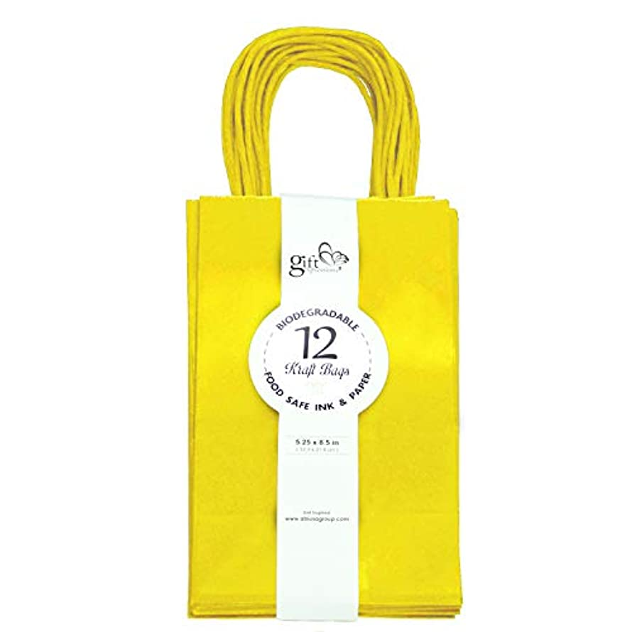 12CT Small Yellow Biodegradable, Food Safe Ink & Paper, Premium Quality Paper (Sturdy & Thicker), Kraft Bag with Colored Sturdy Handle