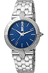 Stainless Steel Bracelet and Case and Blue Dial with Rhinestones