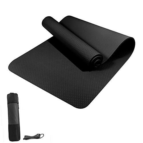 WANGQI Esterilla de yoga – Esterilla de fitness antideslizante – Esterilla de gimnasia para ejercicios – de TPE de alta calidad sin ftalatos – Dimensiones: 183 x 61 x 0,6 cm