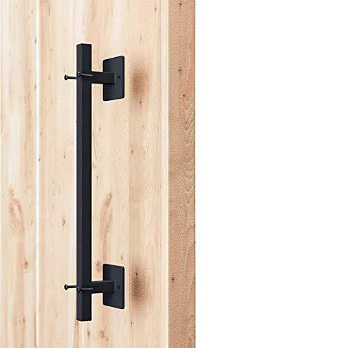 FXBFAG Manija rústica para Puerta de Granero Hecha a Mano, Tirador de manija de Base Cuadrada empotrada, para el hogar/Tienda/Garaje/Oficina - Negro