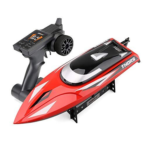 RC Boat Remote Control Boote für Pools und Seen 25 km/h Selbstaufrichtendes Hochgeschwindigkeitsboot Spielzeug für Kinder Erwachsene Jungen Mädchen,Red