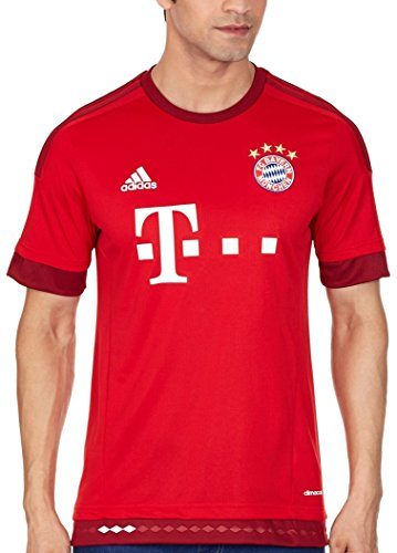 adidas FC Bayern Munich Domicile Replica Maillot Manches Courtes Homme, FCB True Red/Craft Red, FR : L (Taille Fabricant : L)