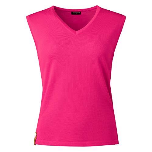 agon Damen Sommer-Merino Pullunder - ärmelloser Strick-Pullover mit V-Ausschnitt aus Biella Merino-Wolle mit UV-Schutz, Made in EU Koralle 38/M