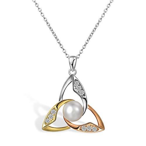 Aroncent Halskette mit Anhänger Keltischer Knoten & Perlen 925 Sterlingsilber klassischer Irische Glücksbringer Hals Schmuck 45cm Kettenlänge 3 Farben
