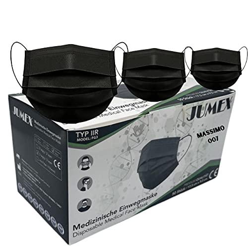 50 Schwarz medizinischer Einweg ,Typ IIR,BFE > 98 % , 5X10 er Pack, 3-lagig, CE zertifiziert EN-14683, Einweg Maske, Gummizug ,Medizinische Masken Schwarz,Gesichtsmaske, Mundschutz