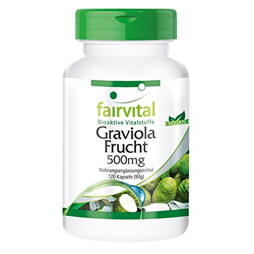 Graviola Frucht Kapseln 500mg - HOCHDOSIERT - VEGAN - 120 Kapseln