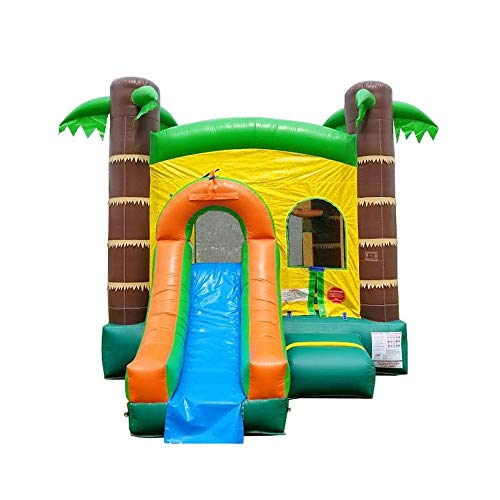 Inflatable Bounce House and Wet / Dry Slide - 12' Foot x 12' Foot Bouncy Area - Crossover Tropical Oasis Combo - Includes: Blower, Stakes, Repair Kit, and Storage Bag