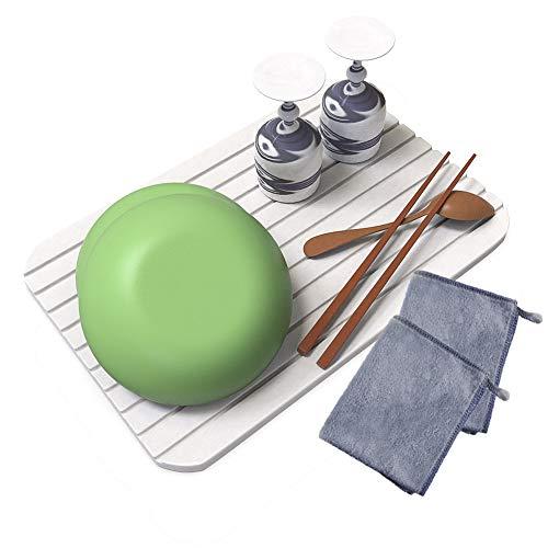AKEIE 水切りマット 吸水 スポンジ ドライングマット 速乾 大判 食器乾燥用マット キッチン 吊ることができ グレー 41*46cm