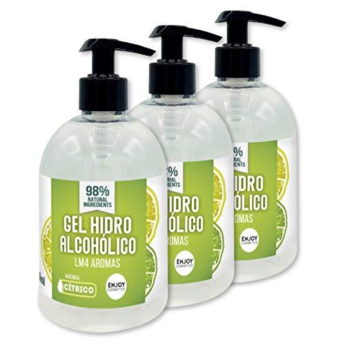 Gel hidroalcohólico NUEVOS AROMAS 3 unidades de 500 ml con 70% alcohol y con glicerina NATURAL para el cuidado de la piel. 98% ingredientes Naturales. (CITRICO)