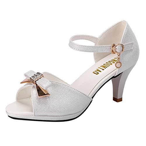 NINGSANJIN Damenschuhe Sandalen & Sandaletten High Heel Sandaletten mit Hohen Absätzen Schuhe Hochzeit Abend Parteischuhe Sommerschuhe Weiß 35