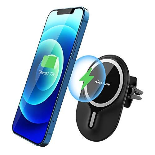 Nillkin - Soporte magnético de carga inalámbrico para coche para iPhone 12 Pro Max / 12/12 Pro / 12 Mini con clip de fijación de salida de aire de sujeción, color negro