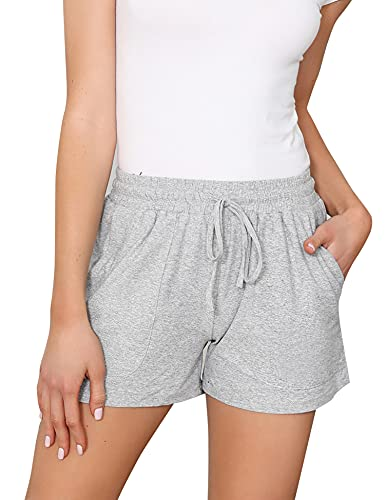 Akalnny Damen Sweat Shorts Sport Kurze Hose Laufshorts Jogginghose mit Taschen Grau M