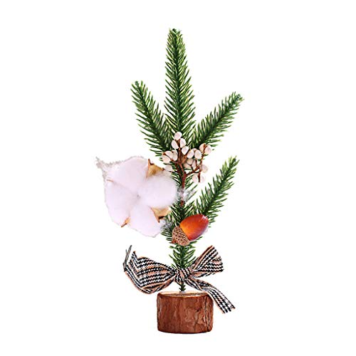 Takkar 25cm Artificial Mini Pine Trees Tabletop Christmas Trees with Wooden Based with Ornaments Perfect for Table and Desk Tops