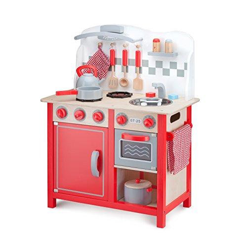 New Classic Toys Cuisine Enfant en Bois Jeu d'Imitation Éducative pour Enfants Bon Appetit DeLuxe Rouge
