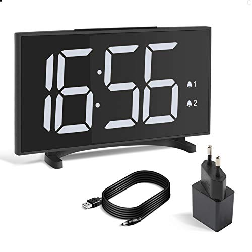 """Yissvic Digital Wecker 6,5"""" LED Display Uhr Tischuhr mit 12/24H 2 Alarm Snooze 6 Einstellbare Helligkeit 2 Lautstärke inkl. Adapter"""