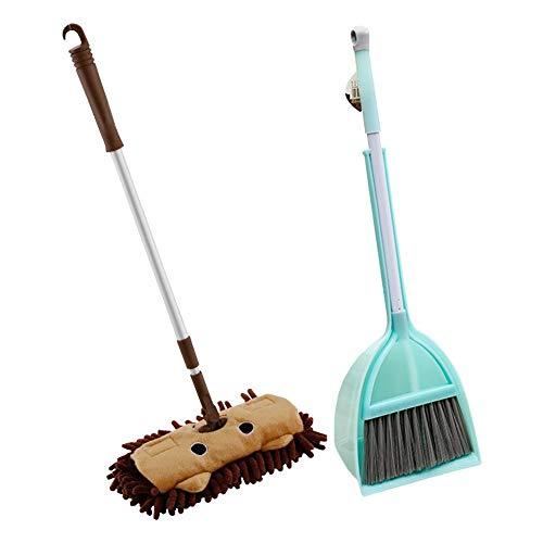 Baby-Mini-Haus mit pauschalem Reinigungsspielzeug, Let's Play House Dust Fegen Mopp-Kombination - Kindermop-Besen-Kehrschaufel-Set - Teleskop-Flachmopp