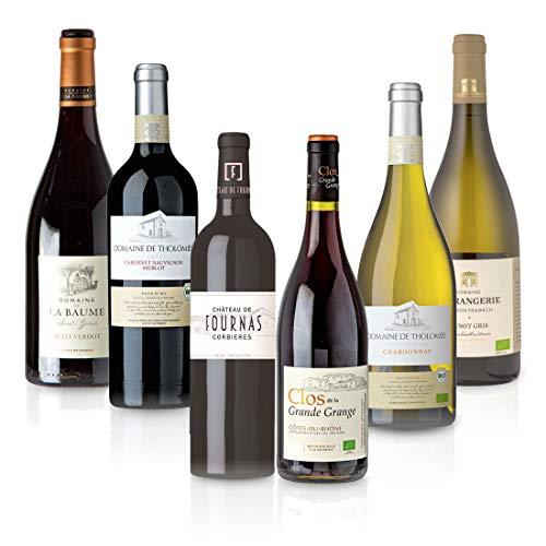 FEINSTE WEINE Weinpaket 'Süd-Frankreich' (6 x 0,75 l) Probierpaket mit trockenem Weißwein und Rotwein von französischen Winzern