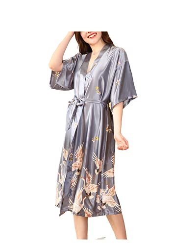 PENGPENG Pijama de satén de Seda camisón Kimono Batas para Mujer Ropa de Dormir Albornoz Ropa de Dormir Dama de Honor Pijama de Boda (Gris, XXXL)
