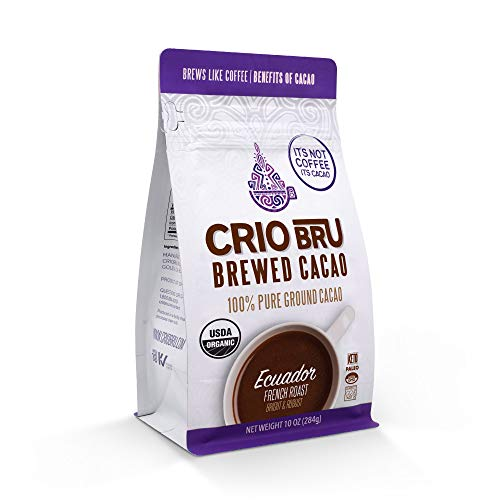 Crio Bru Ecuador French Roast 10oz Bag | Organic Healthy Brewed Cacao Drink | Great Substitute to Herbal Tea and Coffee | 99% Caffeine Free Gluten Free Low Calorie Honest Energy