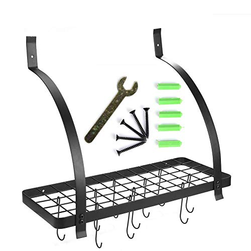 Hanging Pan Rack with 10pcs Hooks-Wall Mounted Black Color Metal Hanging Pan Pot Rack with 10 Hooks Kitchen Storage Organizer