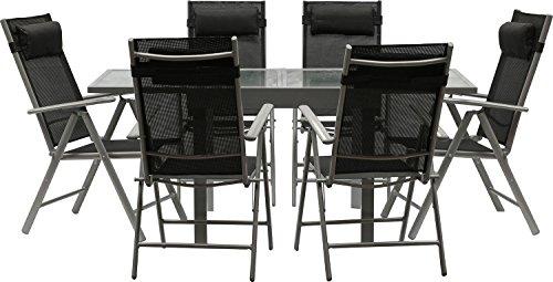 IB-Style - Gartengarnitur 'Star-Quadro' | Alu silbermatt/ Textilen schwarz | 3 Kombinationen | Ausziehtisch mit Sicherheitsglas 90 - 180 cm | Klappstühle inklusive Kopfkissen Gartenmöbel Hochlehner Tisch | 13-teilig