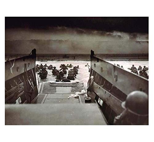 MGSHN Guerra Historia Militar día D Aterrizaje Normandía Segunda Guerra Mundial Pintura Cartel Obra de Arte decoración de Fondo impresión en Lienzo 60x90cm sin Marco