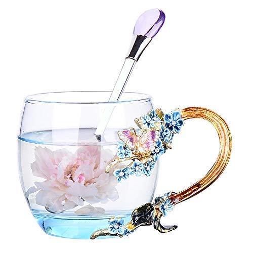Do4U Frauen einzigartige Neuheit 3D Blume Glas Kaffeetassen Tassen mit Löffel perfekt für Espresso, Wasser, Saft, Tee, heiße Getränke, Latte, Milch, Geschenk kurz (Blaue Pflaumenblüte, niedrig)