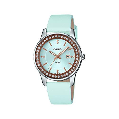 Casio LTP1358L-2AV Women's Enticer Lamé-Sprinkled Bezel Blue Leather Band Watch