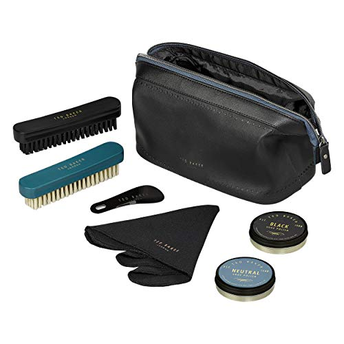 Ted Baker Black Brogue Monkian Faux Leather 6-Piece Shoe Shine and Cleaning Kit,