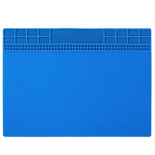 Solder Mat, Heat Insulation Silicone Repair Mat, Premium Magnetic Soldering Mat Heat Resistant 932°F Electronics Mat for Solder Station, Phone and Computer Repair 13.8''x9.8'' Navy Blue