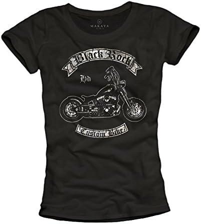 Black Rock Moto - Camisetas Moteras graciosas para Mujer