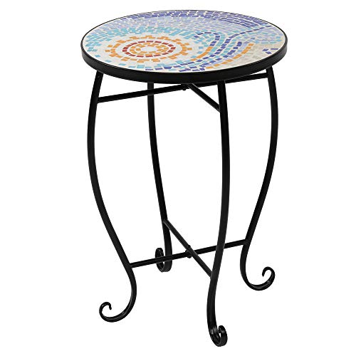 Yugust Outdoor Side Table, Mosaic Top Patio End Table Metal Potted Plant Stand Rack for Garden Yard Lawn Balcony Home Decor