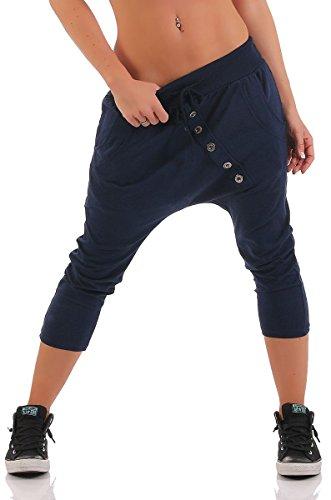 Malito Damen Kurze Hose mit Knopfleiste | Chino Hose in Unifarben | Baggy zum Tanzen | Sweatpants - Trainingshose 8015 (dunkelblau)