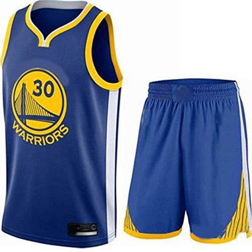 JNAX Basketballuniform für Männer Curry 30# Warriors Trikots Weste Professionelle Basketball Wettkampfanzüge Training Weich Sportlich Schnell Trocken Weiß Gelb Blau Schwarz XS-2XL-blue-XL