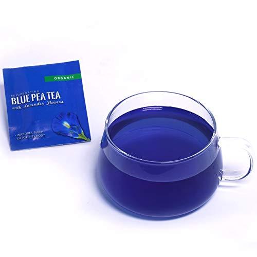 BLUE TEA - Butterfly Pea Flower Lavender Tea | Koffeinfreier Kräutertee - Beruhigend & Stressabbau | Für Cocktails & Mocktails | 40 Tassen - 20 Teebeutel |