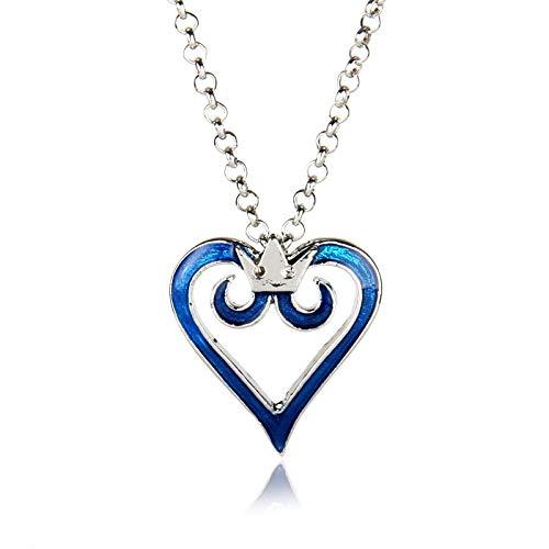 YUNMENG Kingdom Hearts Crown Logo Colgante Corazón Collar Encanto Anime Cosplay Regalo