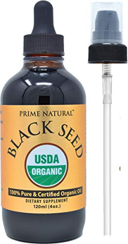 Organic Black Seed Oil 4oz - USDA Certified - High Thymoquinone, 100% Pure Nigella Sativa - Cold Pressed, Virgin, Unrefined, Vegan - Omega 3 6 9, Antioxidant for Immune Boost, Joints, Skin & Hair