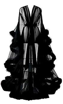 Changuan Sexy Feather Bridal Robe Tulle Illusion Long Wedding Scarf New Custom Made Black XXL