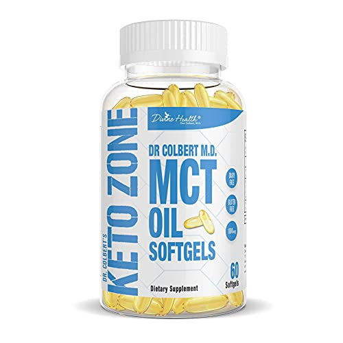 Dr.Colbert's Keto Zone® All Natural MCT Oil Softgels 1000mg from Organic Coconuts - 60 Softgels - Ketogenic Approved