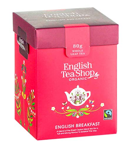 English Tea Shop Tè Nero Biologico ed Equosolidale English Breakfast in Foglia Sfusa Eco-Box Compostabile - 1 x 80 Grammi