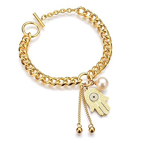 Pulsera y brazaletes con dijes de mano de Fátima, pulseras de acero inoxidable de Color dorado para mujer, joyería, bisutería para mujer