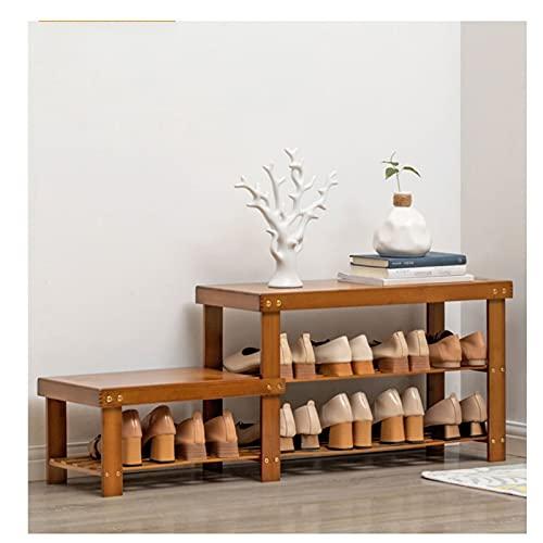 Zapatero Banco de zapatos de bambú Tallero de zapatos, 2/4 niveles Zapato Estante de almacenamiento Organizador Soporte Soporte Estantería de zapatos Mueble Banco para pasillo de entrada Zapatera