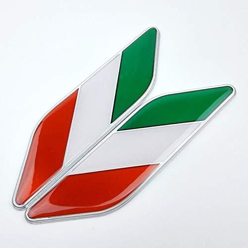 Appiu Car Decals Bandera de montados en el Guardabarros del Lado del Coche Pegatinas de Parachoques de automóviles de Aluminio Italiana epoxi Par