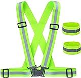 ZWOOS Gilet Catarifrangente + Nastri Riflettenti, Giubbottino Riflettente Fornisce Un'Alta visibilità Giorno And Note per L'esecuzione, Passeggiate, Escursioni (1 x Gilet Riflettente + 2 x bracciali)