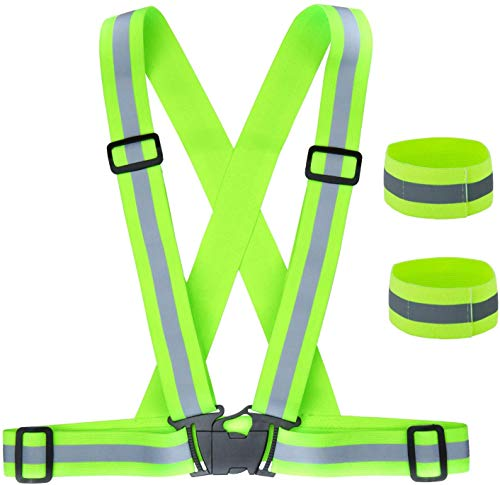 ZWOOS Seguridad Chaleco Reflectante y Bandas, Ajustable Alta Visibilidad Elastic Reflector Chaleco para Correr, Senderismo, Ciclismo, Carreras, Motorista (1 x Chaleco Reflectante + 2 x Brazaletes)