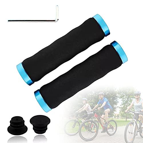 SXJXB Cómodas Empuñaduras de Esponja con Absorción de Impactos para Bicicleta, Empuñaduras para MTB, Manillar con Diseño Ergonómico de Bloqueo Doble, Manillar de Bicicleta,Azul